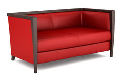 Modern red leather couch isolated on white Stock Photography