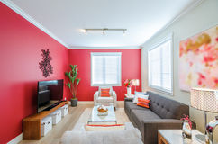 Modern red living room. Interior design Royalty Free Stock Photo