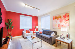Modern red living room interior design Royalty Free Stock Image
