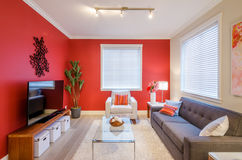 Modern red living room interior design Royalty Free Stock Photo
