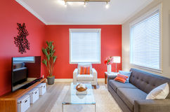 Modern red living room interior design. Contemporary bright living room with red walls, sofa, coffee table, and tv Stock Image