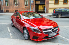Modern red Mercedes car. Russia, Saint-Petersburg, June 2017. stock photography