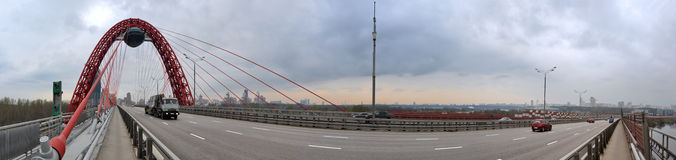 Modern red moscow car bridge panorama Royalty Free Stock Image