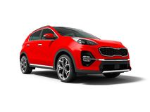 Modern red new car crossover for trips isolated front view 3d re royalty free illustration