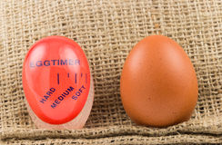 Modern red, plastic kitchen timer with egg Stock Photography