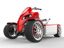 Modern red quad bike - front wheel extreme closeup shot Royalty Free Stock Photography