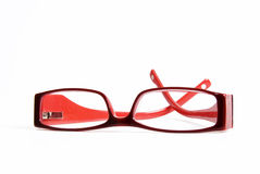 Modern red reading glasses Royalty Free Stock Photos