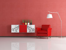 Modern red reding room Stock Photo