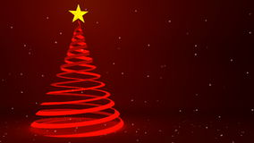 Modern red ribbon Christmas tree design and falling snow, 3D animation stock video footage