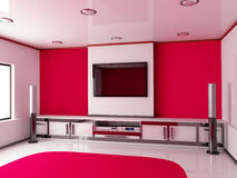 Modern red room Stock Images