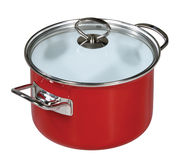 Modern red saucepan Royalty Free Stock Photo
