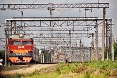 Modern red suburban electric train Stock Photo