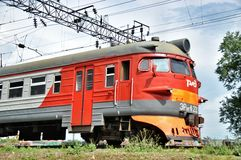 Modern red suburban electric train Stock Image
