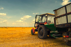 Modern red tractor on the agricultural field Stock Photos