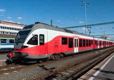 Modern red train Stock Photos