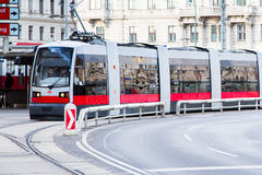 Modern red tram in Vienna Austria Stock Photo