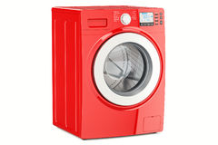 Modern red washing machine, 3D rendering. Isolated on white background Stock Photo