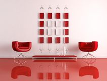 Modern red and white interior Stock Images