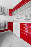 Modern red and white kitchen Stock Photo