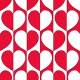 Modern red and white reflected hearts with 60`s vibe on striped geometric background as seamless vector pattern. stock image