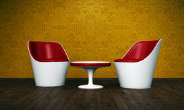 Modern Red and White Tub Chairs Stock Images