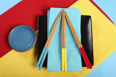 Modern red, yellow and blue Japanese Oriental Table Place Setting Royalty Free Stock Photography