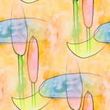 Modern reeds, moon seamless watercolor artist wallpaper texture Royalty Free Stock Image