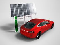 Modern refueling electric car with red solar panels perspective on gray background with shadow vector illustration