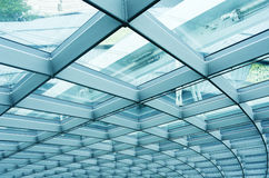 Modern reinforced steel glass Wall. Details of a modern building Stock Image