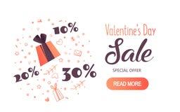 Modern reklamblad med lycklig text för dag för valentin` s Royaltyfri Foto