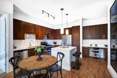 Modern Remodeled Kitchen. Custom wood cabinets and new appliances adorn this luxurious modern remodeled kitchen Stock Image