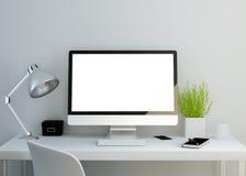 Modern ren workspace med den tomma skärmen Arkivbild