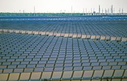 Huge Solar Power Plant. Modern Renewable Energy Plant. Huge Solar Power Plant Closeup Photo Stock Image