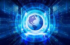 Modern rengöringsduknätverk och internettelekommunikationteknologi, stor datalagring och beräknande datatjänst för moln Arkivfoton