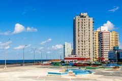 Modern resedential buildings close to Malecon promenade, Vedado,. Havana, Cuba Royalty Free Stock Photography