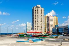 Modern resedential buildings close to Malecon promenade, Vedado,. Havana, Cuba Stock Photos
