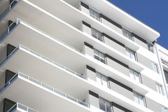 Modern Residential Apartment Block. Mostly white, located in tropical Queensland Royalty Free Stock Image