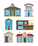 Modern residential building houses cartoon vector collection Royalty Free Stock Images