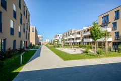 Modern residential buildings with outdoor facilities, Facade of new low-energy houses. Modern residential buildings with outdoor facilities, Facade of new low stock photos