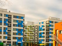 Modern residential complex with colorful design of building facades and developed infrastructure. Moscow, Russia. Modern residential complex with colorful design royalty free stock photography