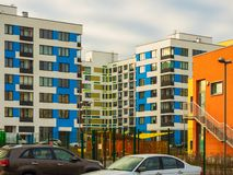 Modern residential complex with colorful design of building facades and developed infrastructure. Moscow, Russia. Modern residential complex with colorful design stock photos