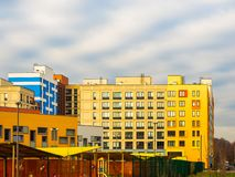 Modern residential complex with colorful design of building facades and developed infrastructure. Moscow, Russia. Modern residential complex with colorful design stock photography