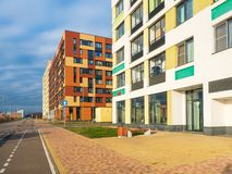 Modern residential complex with colorful design of building facades and developed infrastructure. Moscow, Russia. Modern residential complex with colorful design royalty free stock images