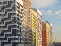 Modern residential complex with colorful design of building facades and developed infrastructure. Moscow, Russia. Modern residential complex with colorful design royalty free stock photo