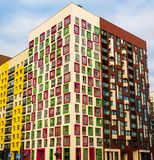Modern residential complex with colorful design of building facades and developed infrastructure. Moscow, Russia. Modern residential complex with colorful design stock photo