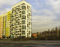 Modern residential complex with colorful design of building facades and developed infrastructure. Moscow, Russia. Modern residential complex with colorful design royalty free stock image