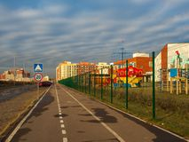 Modern residential complex with colorful design of building facades and developed infrastructure. Moscow, Russia. Modern residential complex with colorful design stock image