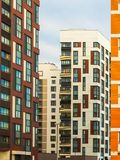 Modern residential complex with colorful design of building facades and developed infrastructure. Moscow, Russia. Modern residential complex with colorful design royalty free stock photos