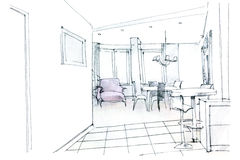 Modern residential hall interior sketch Royalty Free Stock Photography