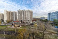 Modern residential high-rise houses in new districts of Moscow.  Royalty Free Stock Images